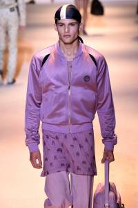 A model walks the runway during the Versace fashion show as part of Milan Men's Fashion Week Spring/Summer 2016 on June 20, 2015 in Milan, Italy.
