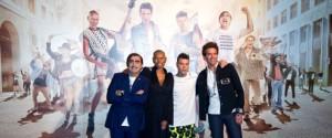 08/09/2015 Milano, photocall della trasmissione televisiva X Factor. Nella foto Elio, Skin, Fedez e Mika